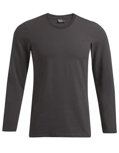 LSHOP Men«s Slim Fit-T Longsleeve Black,Light Grey (Solid)
