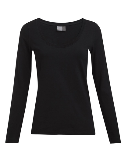 LSHOP Women«s Slim Fit-T Longsleeve Black,Off White