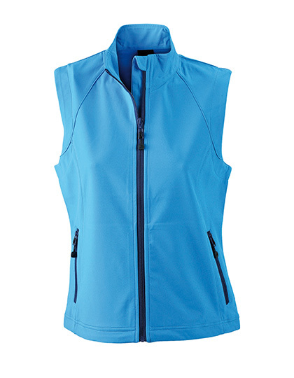 LSHOP Ladies`Softshell Vest Azur,Black,Green,Navy,Off-White,Orange,Red