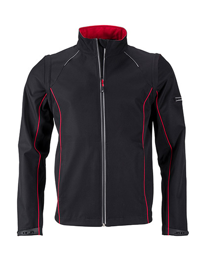 LSHOP Men`s Zip-Off Softshell Jacket Black,Iron Grey,Nauticblue,Navy,Red