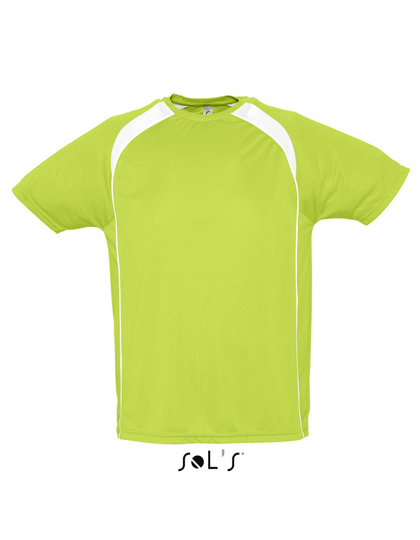 LSHOP Mens T-Shirt Match Apple Green,Black,French Navy,Neon Coral,Orange,Red,White