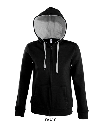 LSHOP Contrast Hooded Zip Jacket Soul Women Black,French Navy,Royal Blue,White